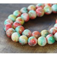 Spring Mix Multicolor Jade Beads, 10mm Round