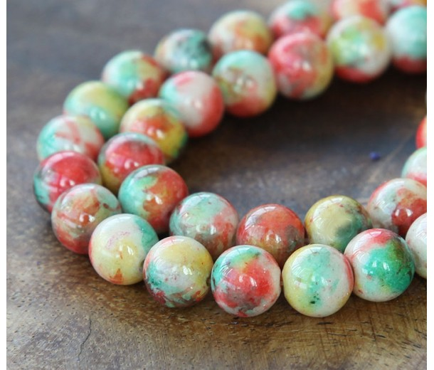 Spring Mix Multicolor Jade Beads, 8mm Round