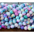 Blue and Lilac Multicolor Jade Beads, 8mm Round