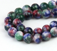Blue and Red Multicolor Jade Beads, 10mm Round
