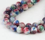 Blue and Red Multicolor Jade Beads, 8mm Round