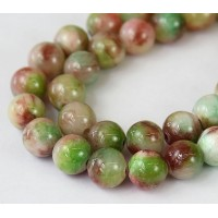 Coral and Brown Multicolor Jade Beads, 10mm Round