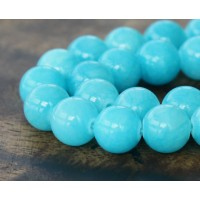 Light Blue Mountain Jade Beads, 12mm Round
