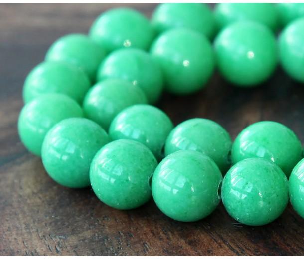 Pastel Green Mountain Jade Beads, 12mm Round