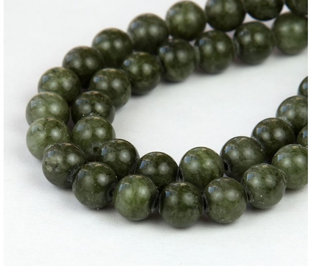 Dark Olive Green Mountain Jade Beads, 6mm Round