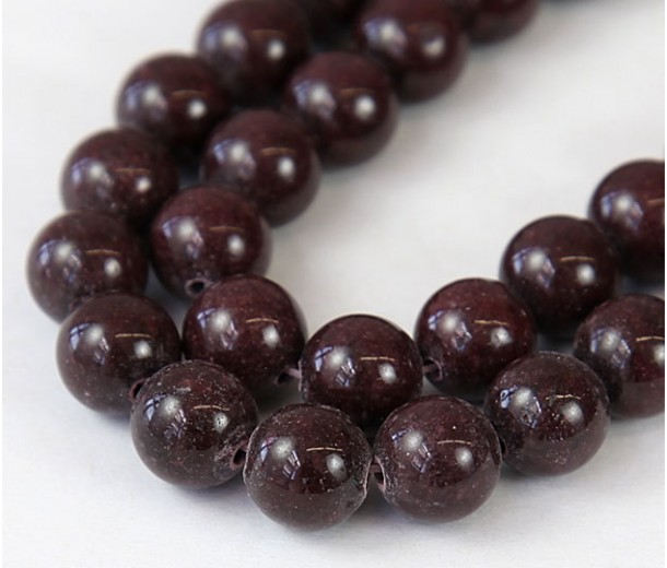 Chocolate Brown Mountain Jade Beads, 10mm Round