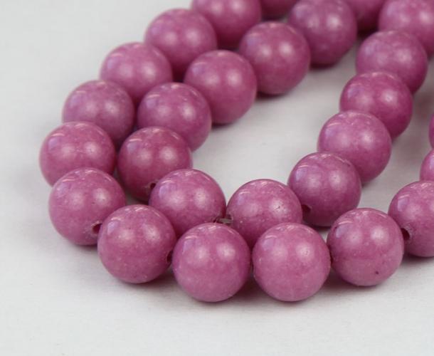 Medium Mauve Mountain Jade Beads 10mm Round Golden Age