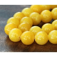 Yellow Mountain Jade Beads, 12mm Round