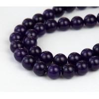 Dark Purple Semi-Transparent Jade Beads, 10mm Round