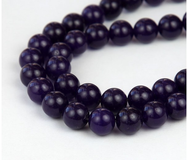 Dark Purple Semi-Transparent Jade Beads, 10mm Round
