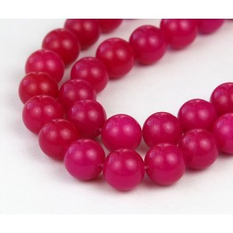 Fuchsia Semi-Transparent Jade Beads, 10mm Round