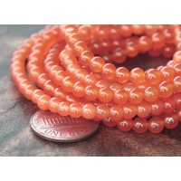 Coral Semi-Transparent Jade Beads, 4mm Round