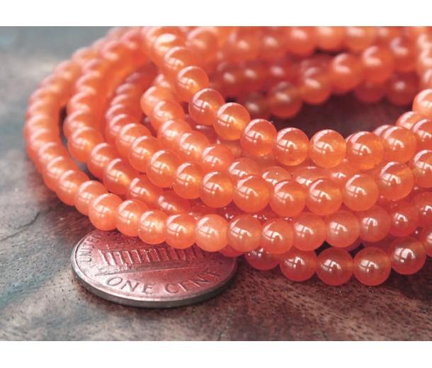 Coral Semi-Transparent Jade Beads, 4mm Round