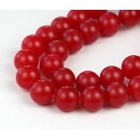 Medium Red Semi-Transparent Jade Beads, 10mm Round
