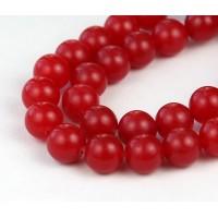 Medium Red Semi-Transparent Jade Beads, 10mm Round