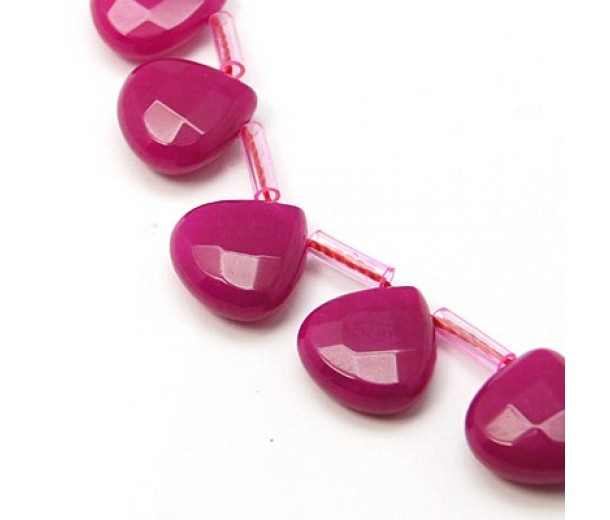 Fuchsia Candy Jade Beads, 13mm Faceted Drop