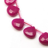 Fuchsia Candy Jade Beads, 13mm Faceted Drop, Pack of 4 Beads