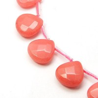 Coral Candy Jade Beads, 13mm Faceted Drop