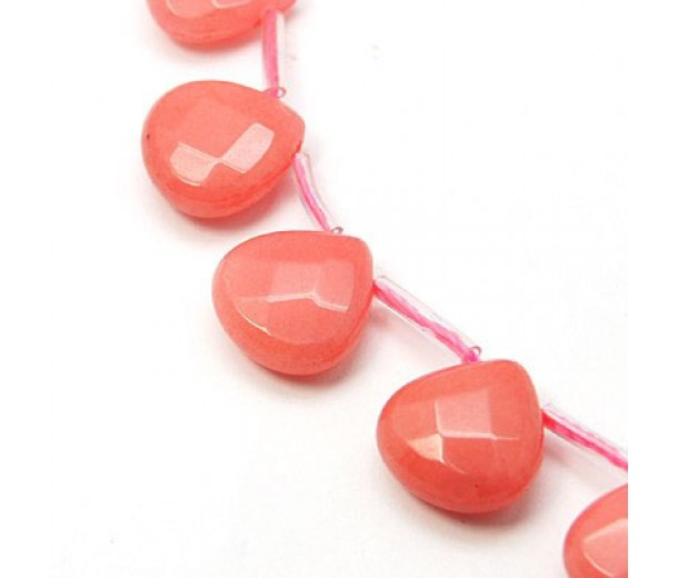 Coral Candy Jade Beads, 13mm Faceted Drop, Pack of 4 Beads