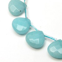 Pale Blue Candy Jade Beads, 13mm Faceted Drop