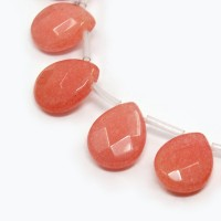 Coral Candy Jade Beads, 15x12mm Faceted Drop, Pack of 4 Beads