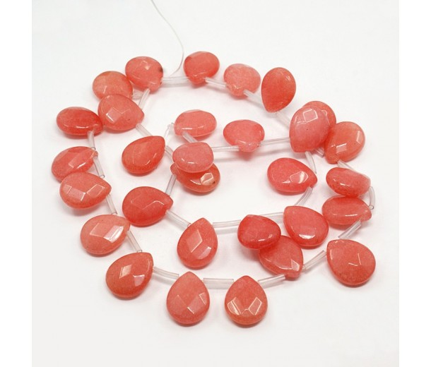Coral Candy Jade Beads, 15x12mm Faceted Drop