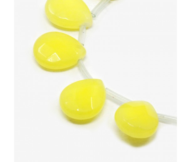 Lemon Yellow Candy Jade Beads, 15x12mm Faceted Drop, Pack of 4 Beads