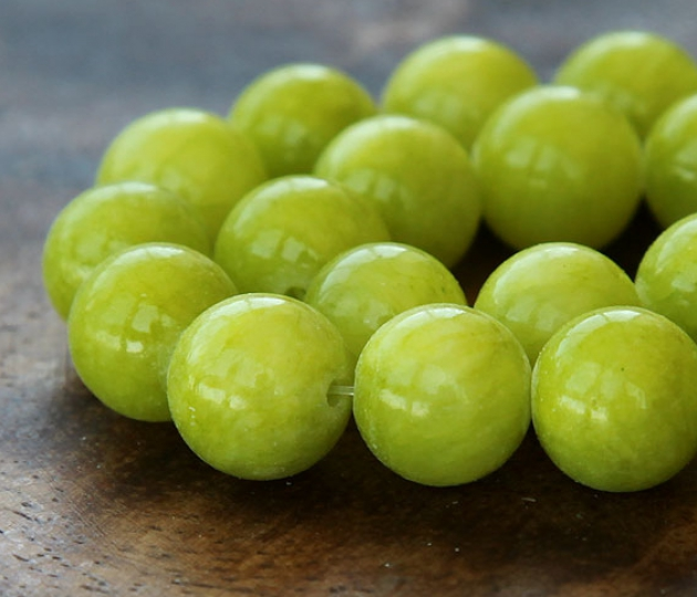Chartreuse Mountain Jade Beads 12mm Round Golden Age Beads