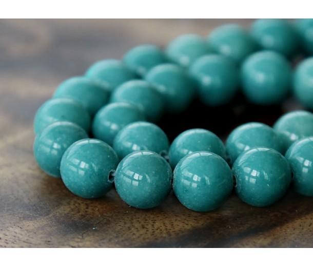 Cadet Blue Mountain Jade Beads, 10mm Round