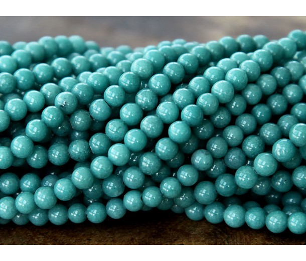 Cadet Blue Mountain Jade Beads, 6mm Round