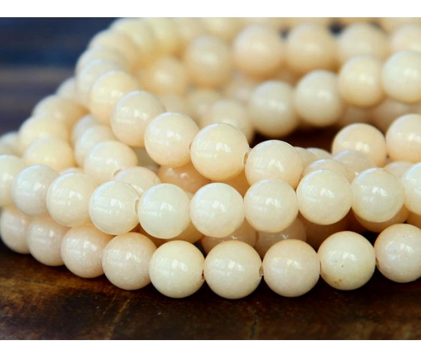 Cream Mountain Jade Beads, 4mm Round