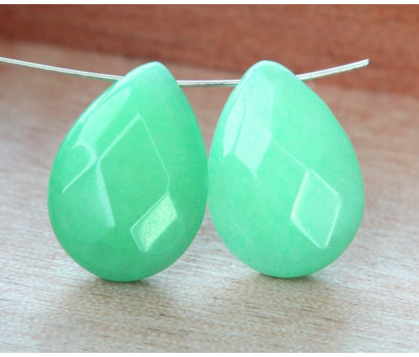 Mint Green Candy Jade Beads, 25x18mm Faceted Drop, Pack of 2 Beads