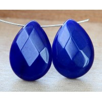 Cobalt Blue Candy Jade Beads, 25x18mm Faceted Drop, Pack of 2 Beads