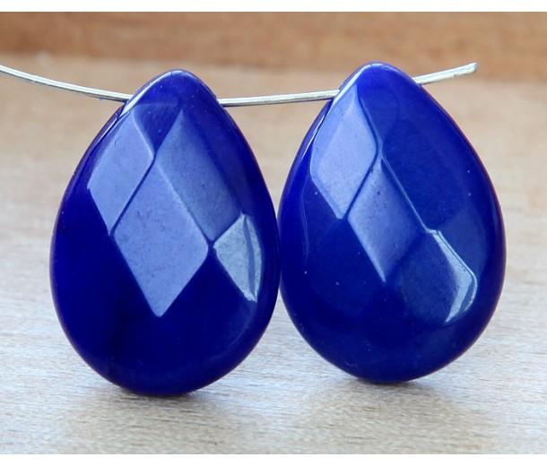 Cobalt Blue Candy Jade Beads, 25x18mm Faceted Drop