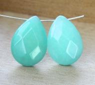 Aqua Blue Candy Jade Beads, 25x18mm Faceted Drop