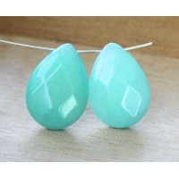 Aqua Blue Candy Jade Beads, 25x18mm Faceted Drop