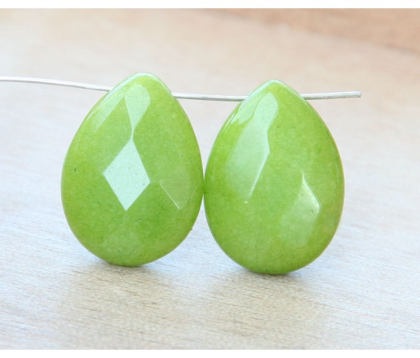 Apple Green Candy Jade Beads, 25x18mm Faceted Drop