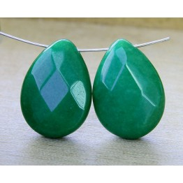 Emerald Green Candy Jade Beads, 25x18mm Faceted Drop