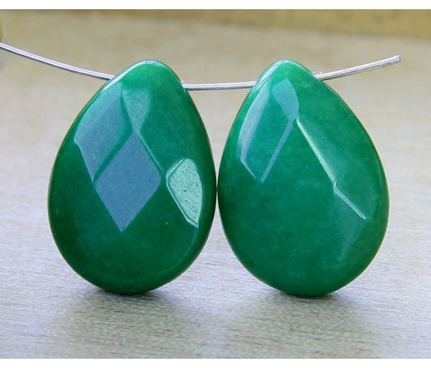 Emerald Green Candy Jade Beads, 25x18mm Faceted Drop, Pack of 2 Beads