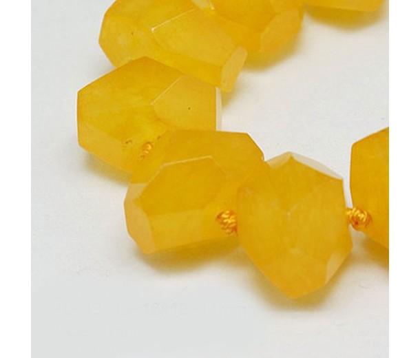 Sun Yellow Candy Jade Beads, Chunky Faceted Nugget
