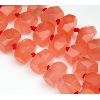 Coral Candy Jade Beads, Chunky Faceted Nugget