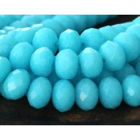 Light Blue Candy Jade Beads, 12x8mm Faceted Rondelle