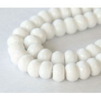 White Candy Jade Beads, 12x8mm Faceted Rondelle