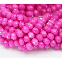 Bubblegum Pink Candy Jade Beads, 8x5mm Faceted Rondelle