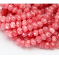 Watermelon Pink Candy Jade Beads, 8x5mm Faceted Rondelle