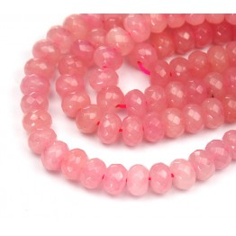 Sorbet Pink Candy Jade Beads, 8x5mm Faceted Rondelle