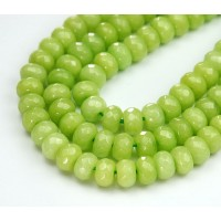 Light Apple Green Candy Jade Beads, 8x5mm Faceted Rondelle