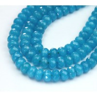 Light Blue Candy Jade Beads, 8x5mm Faceted Rondelle