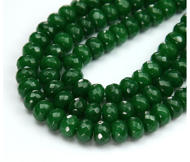 Forest Green Candy Jade Beads, 8x5mm Faceted Rondelle