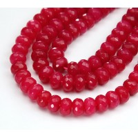 Hot Pink Candy Jade Beads, 8x5mm Faceted Rondelle